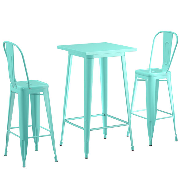 """Lancaster Table & Seating Alloy Series 24"""" x 24"""" Seafoam Outdoor Bar Height Table with 2 Metal Cafe Bar Stools Main Image 1"""
