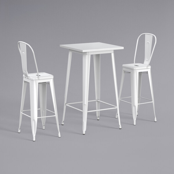 """Lancaster Table & Seating Alloy Series 24"""" x 24"""" White Outdoor Bar Height Table with 2 Metal Cafe Bar Stools Main Image 1"""