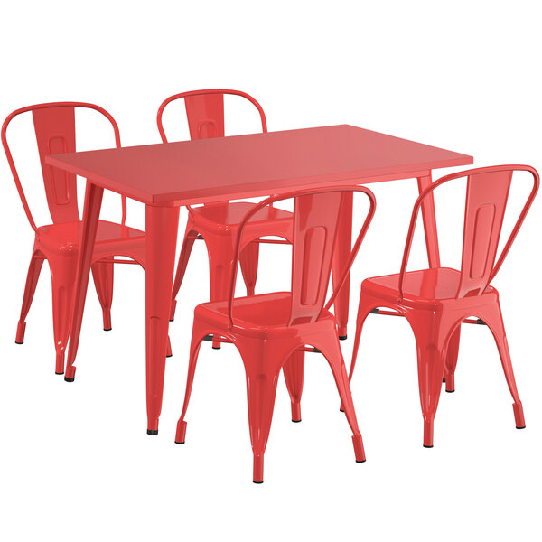 """Lancaster Table & Seating Alloy Series 48"""" x 30"""" Red Dining Height Outdoor Table with 4 Industrial Cafe Chairs Main Image 1"""
