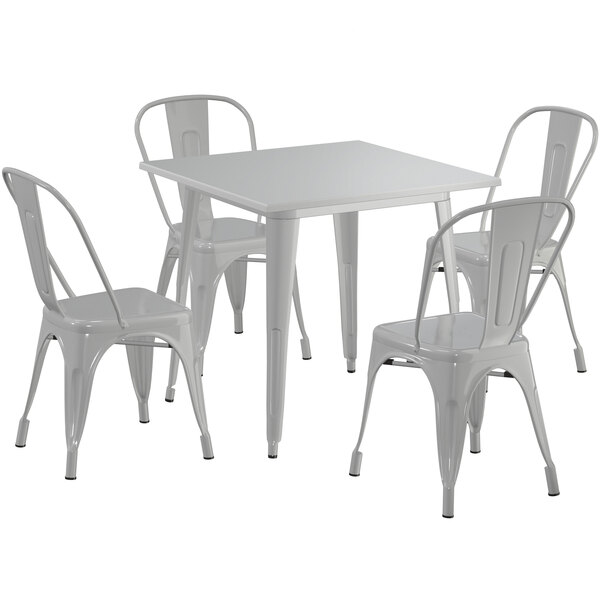 """Lancaster Table & Seating Alloy Series 32"""" x 32"""" Silver Dining Height Outdoor Table with 4 Industrial Cafe Chairs Main Image 1"""