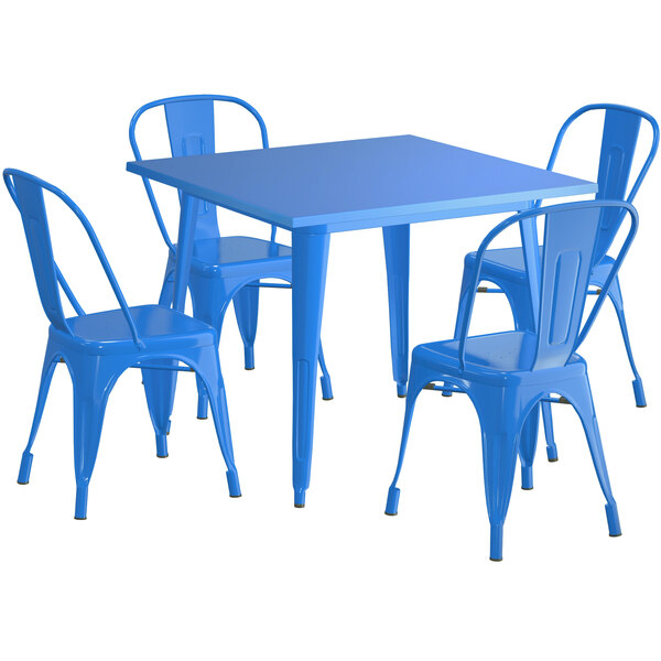 """Lancaster Table & Seating Alloy Series 36"""" x 36"""" Blue Dining Height Outdoor Table with 4 Industrial Cafe Chairs Main Image 1"""
