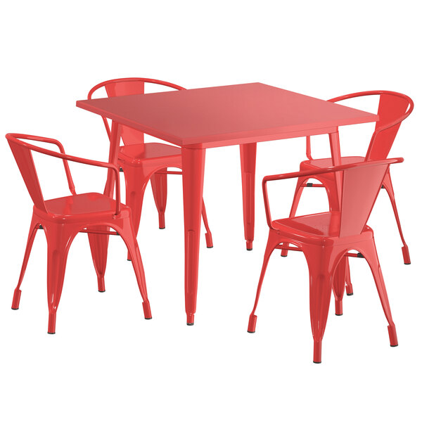 """Lancaster Table & Seating Alloy Series 36"""" x 36"""" Red Dining Height Outdoor Table with 4 Arm Chairs Main Image 1"""