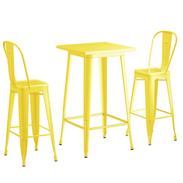 """Lancaster Table & Seating Alloy Series 24"""" x 24"""" Yellow Outdoor Bar Height Table with 2 Metal Cafe Bar Stools Main Image 1"""
