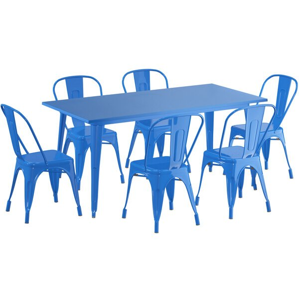"""Lancaster Table & Seating Alloy Series 63"""" x 32"""" Blue Dining Height Outdoor Table with 6 Industrial Cafe Chairs Main Image 1"""