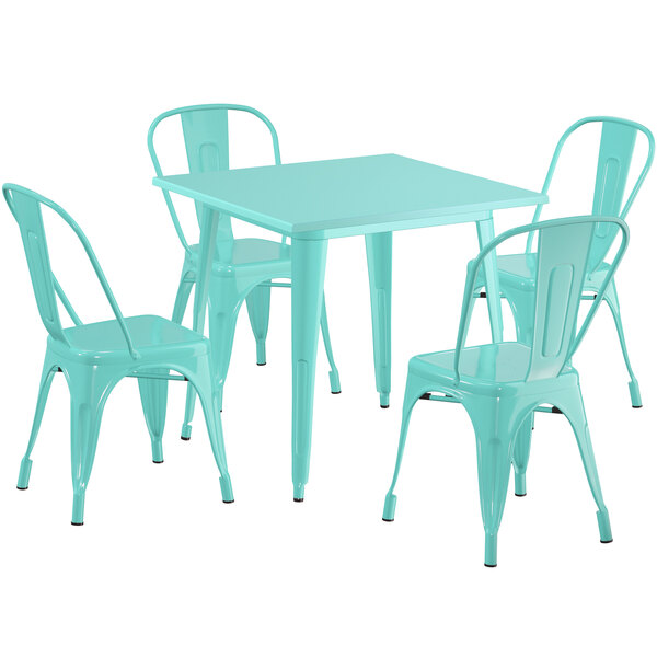 """Lancaster Table & Seating Alloy Series 32"""" x 32"""" Seafoam Dining Height Outdoor Table with 4 Industrial Cafe Chairs Main Image 1"""