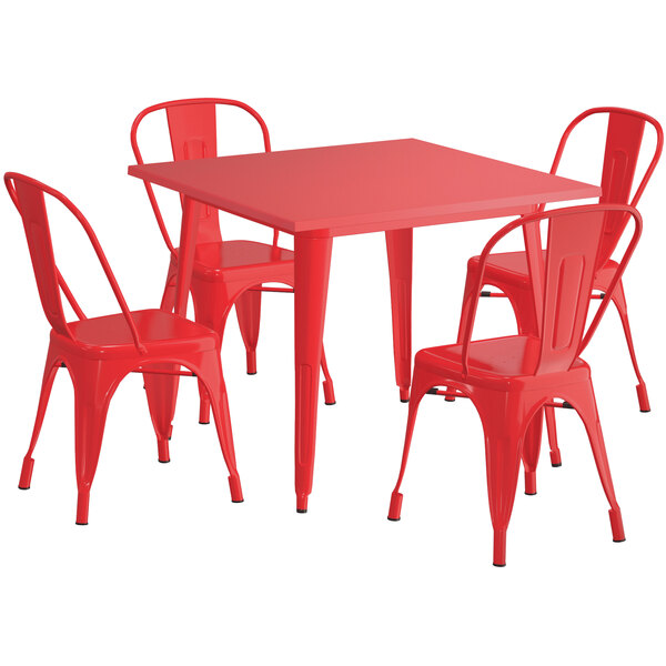 "Lancaster Table & Seating Alloy Series 36"" x 36"" Red Dining Height Outdoor Table with 4 Industrial Cafe Chairs Main Image 1"