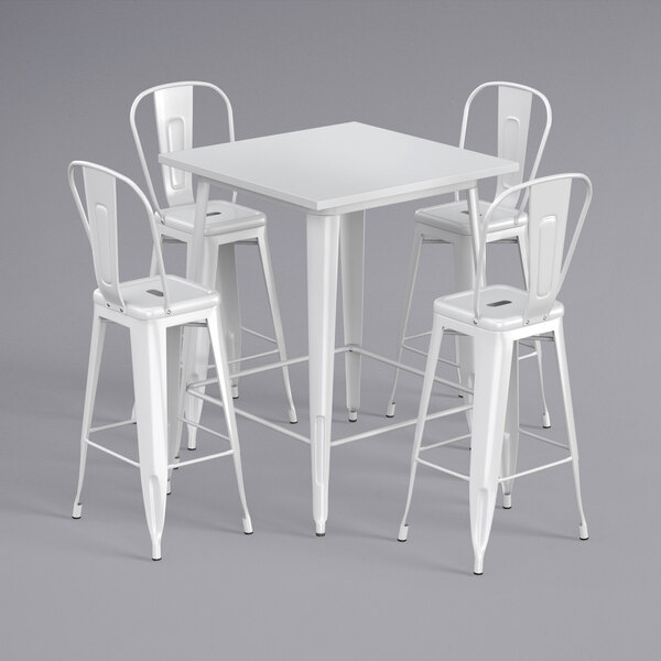 """Lancaster Table & Seating Alloy Series 32"""" x 32"""" White Outdoor Bar Height Table with 4 Metal Cafe Bar Stools Main Image 1"""