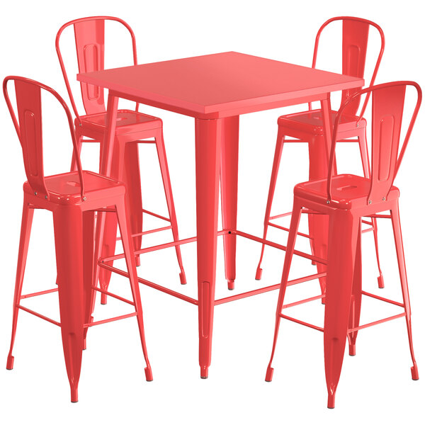 "Lancaster Table & Seating Alloy Series 32"" x 32"" Red Outdoor Bar Height Table with 4 Metal Cafe Bar Stools Main Image 1"