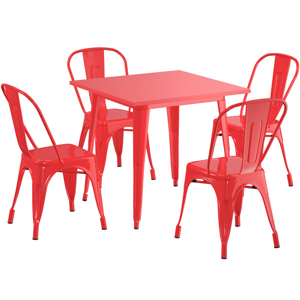 """Lancaster Table & Seating Alloy Series 32"""" x 32"""" Red Dining Height Outdoor Table with 4 Industrial Cafe Chairs Main Image 1"""