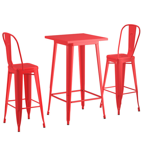 """Lancaster Table & Seating Alloy Series 24"""" x 24"""" Red Outdoor Bar Height Table with 2 Metal Cafe Bar Stools Main Image 1"""