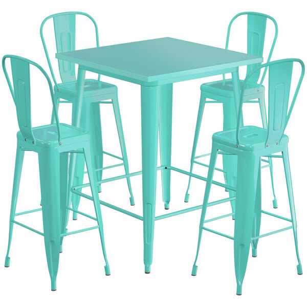 """Lancaster Table & Seating Alloy Series 32"""" x 32"""" Seafoam Outdoor Bar Height Table with 4 Metal Cafe Bar Stools Main Image 1"""