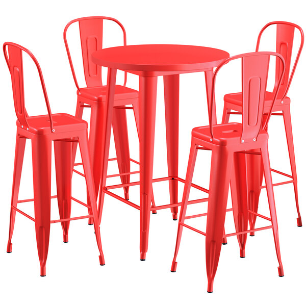 """Lancaster Table & Seating Alloy Series 30"""" Round Red Outdoor Bar Height Table with 4 Metal Cafe Bar Stools Main Image 1"""