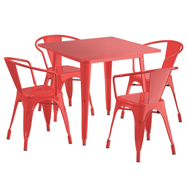 """Lancaster Table & Seating Alloy Series 32"""" x 32"""" Red Dining Height Outdoor Table with 4 Arm Chairs Main Image 1"""