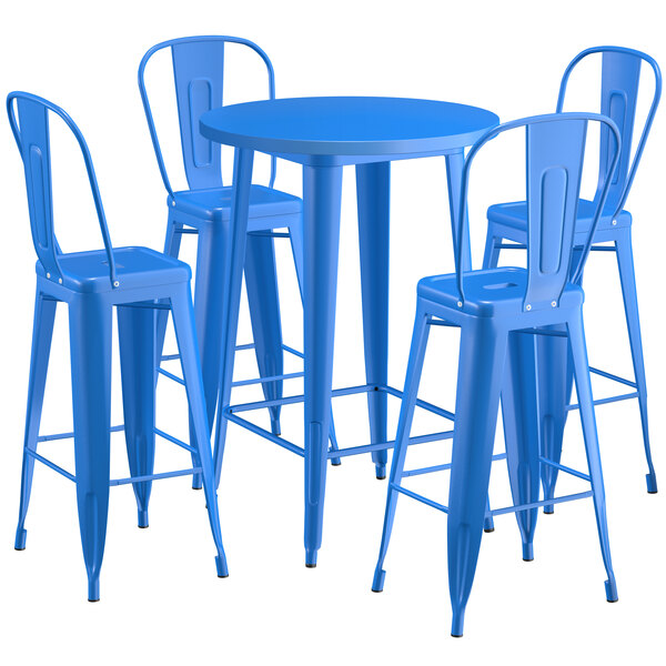 """Lancaster Table & Seating Alloy Series 30"""" Round Blue Outdoor Bar Height Table with 4 Metal Cafe Bar Stools Main Image 1"""