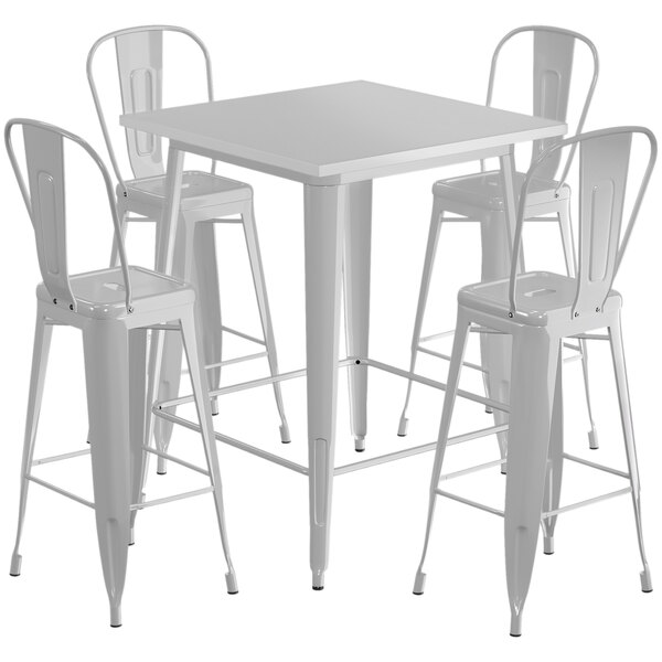"""Lancaster Table & Seating Alloy Series 32"""" x 32"""" Silver Outdoor Bar Height Table with 4 Metal Cafe Bar Stools Main Image 1"""