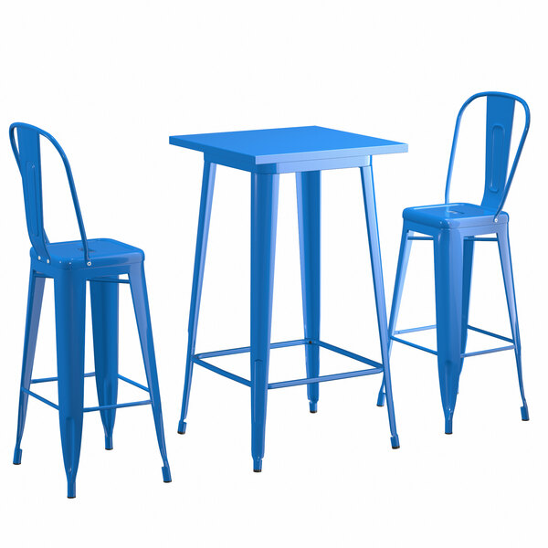 "Lancaster Table & Seating Alloy Series 24"" x 24"" Blue Outdoor Bar Height Table with 2 Metal Cafe Bar Stools Main Image 1"