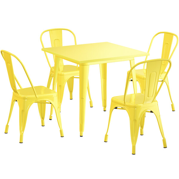 """Lancaster Table & Seating Alloy Series 32"""" x 32"""" Yellow Dining Height Outdoor Table with 4 Industrial Cafe Chairs Main Image 1"""