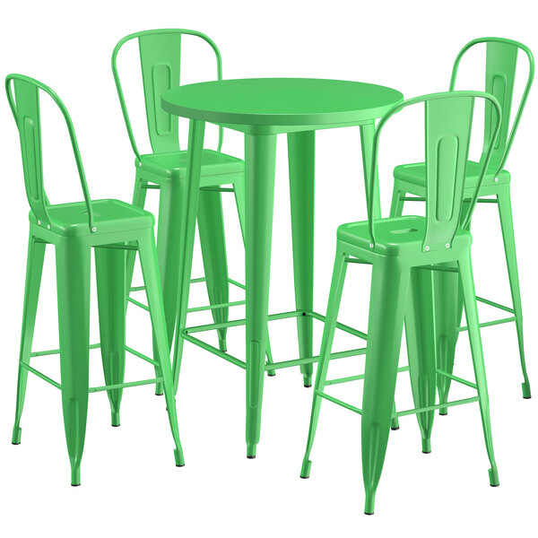 """Lancaster Table & Seating Alloy Series 30"""" Round Green Outdoor Bar Height Table with 4 Metal Cafe Bar Stools Main Image 1"""