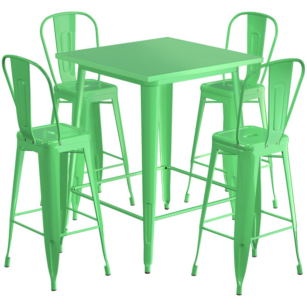 """Lancaster Table & Seating Alloy Series 32"""" x 32"""" Green Outdoor Bar Height Table with 4 Metal Cafe Bar Stools Main Image 1"""