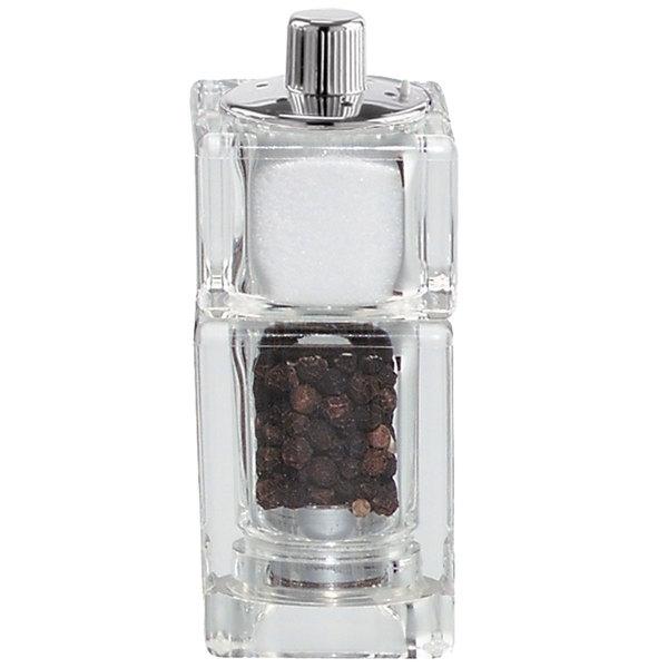 Chef Specialties 01550 3 1 2 Customizable Cubic Acrylic Pepper Mill Salt Shaker Combo