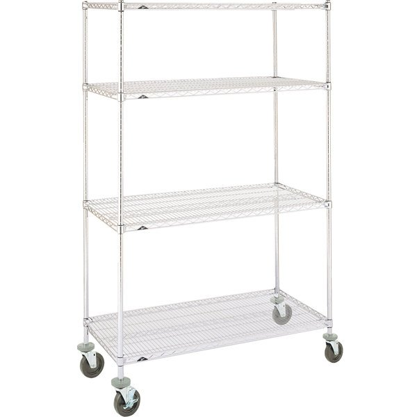 Metro Super Erecta N336BC Chrome Mobile Wire Shelving Unit with Rubber Casters 18 inch x 36 inch x 69 inch