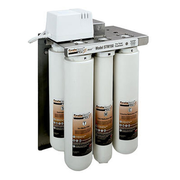A reverse osmosis water filtration system for coffee, espresso, and tea brewers.