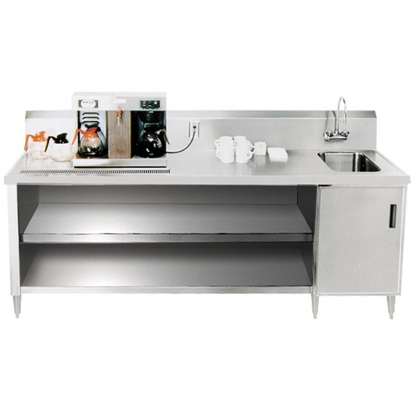 """Sink on Right Advance Tabco BEV-30-48 Enclosed Base Beverage Table - 48"""""""