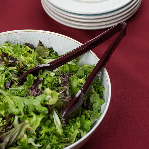 "Carlisle 460901 Carly 9"" Brown Plastic Salad Tongs"