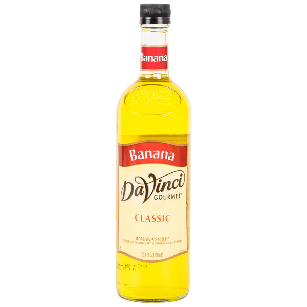 DaVinci Gourmet 750 mL Banana Classic Coffee Flavoring / Fruit Syrup