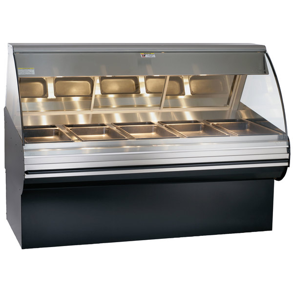 """Alto-Shaam HN2SYS-72/PL S/S Stainless Steel Heated Display Case with Curved Glass and Base - Left Self Service 72"""""""