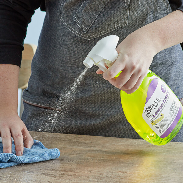 Noble Chemical 1 Qt. / 32 oz. Lemon Lance Ready-to-Use Disinfectant & Detergent Cleaner - 12/Case Main Image 3