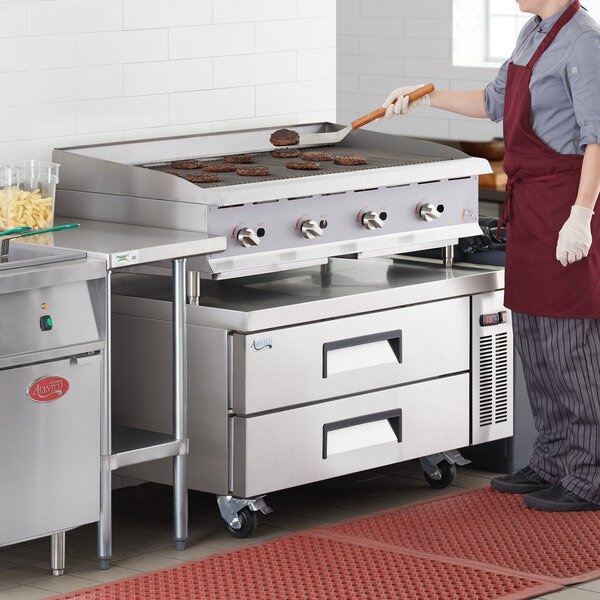 """Cooking Performance Group CBL48 48"""" Gas Countertop Lava Briquette Charbroiler and 2 Drawer Refrigerated Chef Base - 160,000 BTU Main Image 6"""
