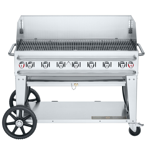 "Crown Verity CV-RCB-48WGP-SI-BULK Pro Series 48"" Outdoor Mobile Grill with 48"" Windguard and Bulk Tank Capacity - 114,000 BTU Main Image 1"