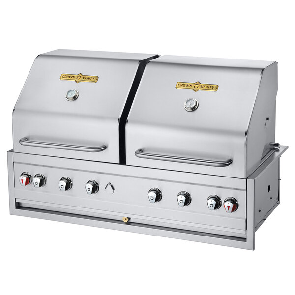 "Crown Verity CV-BI-48-2 Liquid Propane 48"" Stainless Steel Built-In Outdoor Grill / Charbroiler - 99,000 BTU Main Image 1"