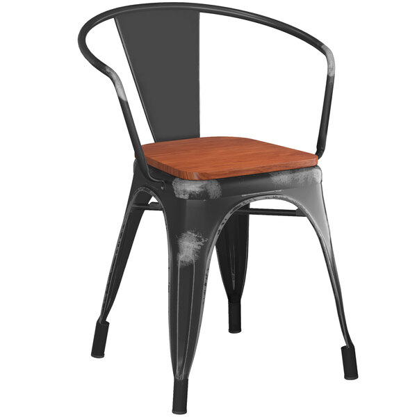 Lancaster Table & Seating Alloy Series Distressed Black Metal Indoor Industrial Cafe Arm Chair with Vertical Slat Back and Walnut Wood Seat Main Image 1