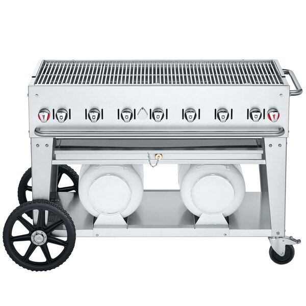 """Crown Verity CV-CCB-48 Club Series 48"""" Outdoor Mobile Grill with 2 Horizontal Propane Tanks - 114,000 BTU Main Image 1"""