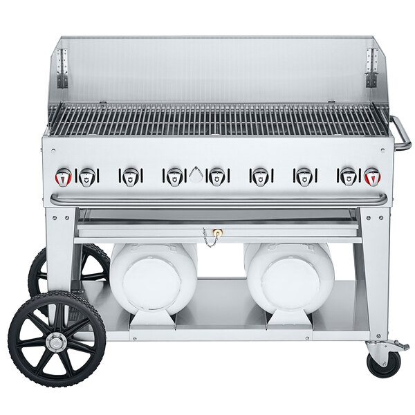 """Crown Verity CV-CCB-48WGP Club Series 48"""" Outdoor Mobile Grill with Wind Guard and 2 Horizontal Propane Tanks - 114,000 BTU Main Image 1"""
