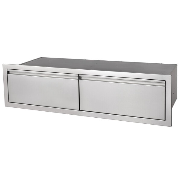 "Crown Verity ES-SD2-36 36"" Horizontal Built-In Stainless Steel 2 Drawer Storage Compartment Main Image 1"
