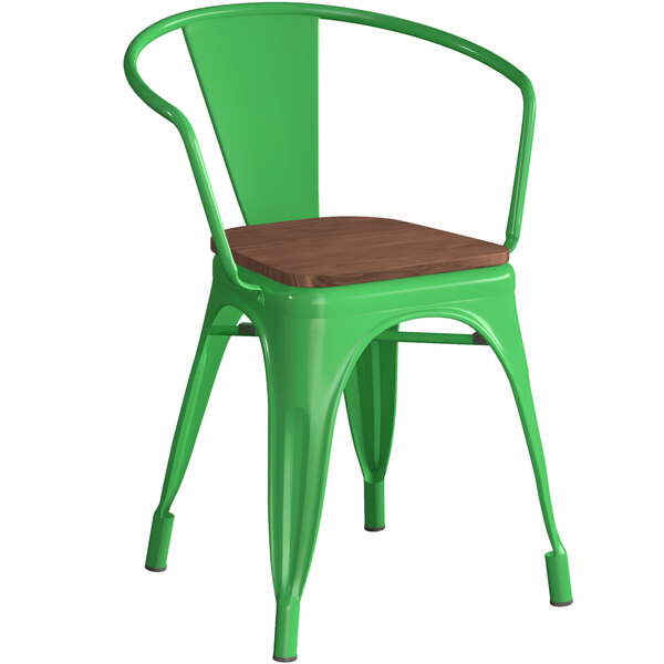 Lancaster Table & Seating Alloy Series Green Metal Indoor Industrial Cafe Arm Chair with Vertical Slat Back and Walnut Wood Seat Main Image 1