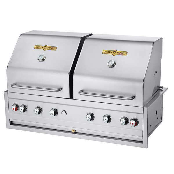 "Crown Verity CV-BI-48-2PKGNG Natural Gas 48"" Stainless Steel Built-In Outdoor Grill / Charbroiler with 2 Roll Domes and 2 Bun Racks - 99,000 BTU Main Image 1"
