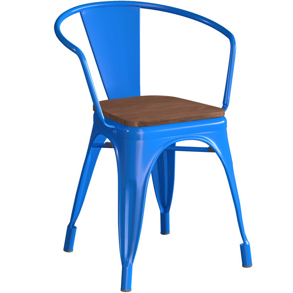 Lancaster Table & Seating Alloy Series Blue Metal Indoor Industrial Cafe Arm Chair with Vertical Slat Back and Walnut Wood Seat Main Image 1
