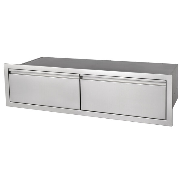 """Crown Verity ES-SD2-48 48"""" Horizontal Built-In Stainless Steel 2 Drawer Storage Compartment Main Image 1"""