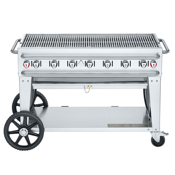 "Crown Verity CV-RCB-48-SI-BULK Pro Series 48"" Outdoor Mobile Grill with Bulk Tank Capacity - 114,000 BTU Main Image 1"