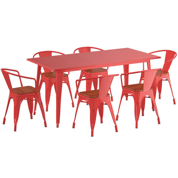 """Lancaster Table & Seating Alloy Series 63"""" x 32"""" Red Dining Height Table with 6 Arm Chairs and Walnut Wooden Seats Main Image 1"""