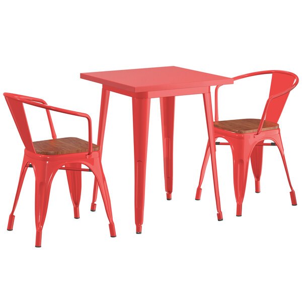 "Lancaster Table & Seating Alloy Series 24"" x 24"" Red Dining Height Table with 2 Arm Chairs and Walnut Wooden Seats Main Image 1"