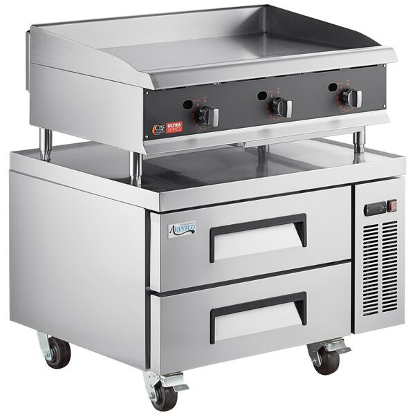 """Cooking Performance Group 36N Ultra Series 36"""" Heavy-Duty Chrome Plated Natural Gas 3-Burner Countertop Griddle and 2 Drawer Refrigerated Base - 90,000 BTU Main Image 1"""
