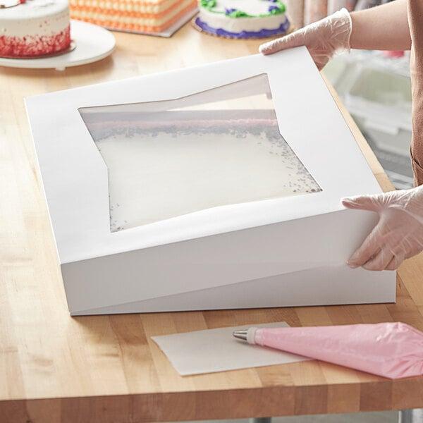 "Baker's Mark 26 1/2"" x 18 5/8"" x 3"" White Auto-Popup Window Full Sheet Cake / Bakery Box Top - 50/Bundle Main Image 4"