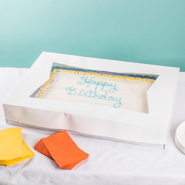 "Southern Champion 24253 26 1/2"" x 18 5/8"" x 3"" White Auto-Popup Window Full Sheet Cake / Bakery Box Top - 50/Bundle"