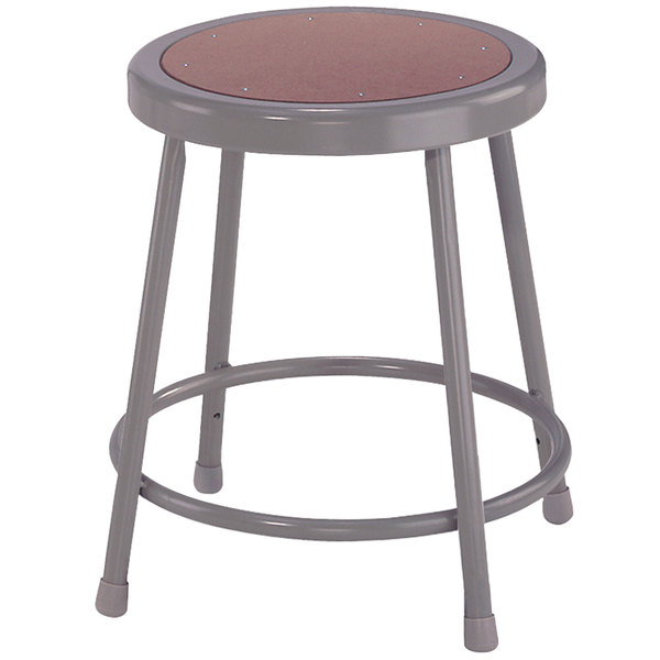 "National Public Seating 6218 18"" Gray Hardboard Round Lab Stool"