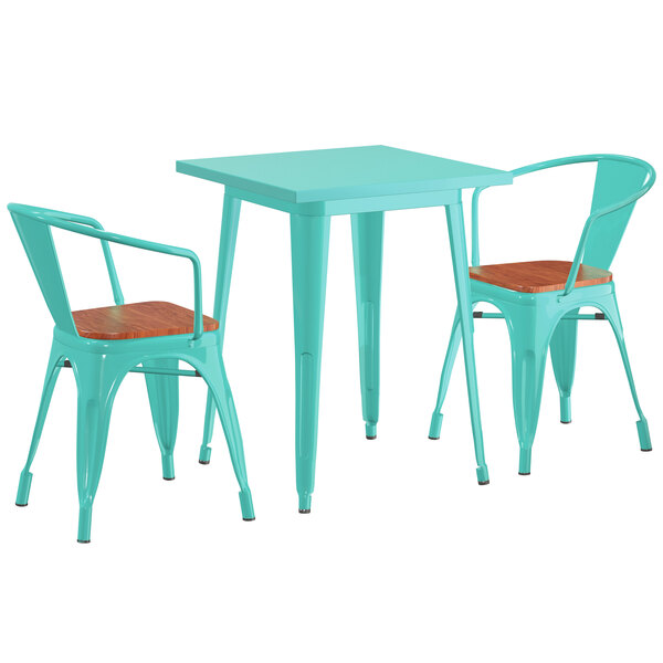"""Lancaster Table & Seating Alloy Series 24"""" x 24"""" Seafoam Dining Height Table with 2 Arm Chairs and Walnut Wooden Seats Main Image 1"""